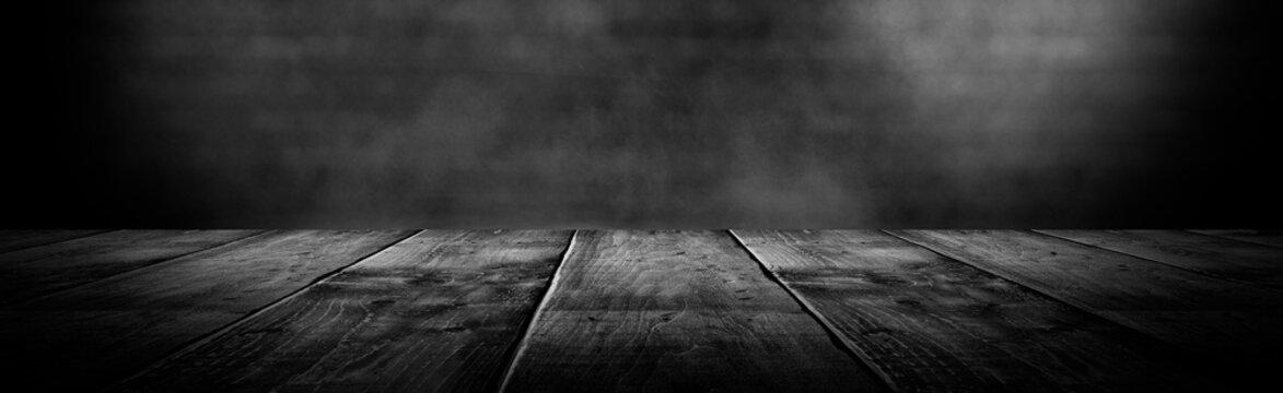 Background of empty room, concrete wall, wooden floor.