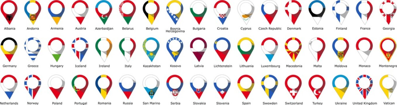Flags in the form of pins of the countries of Europe Geographical with the name of each country written below