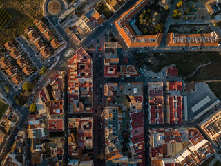 Top down aerial view of small town center in Canals, Spain.