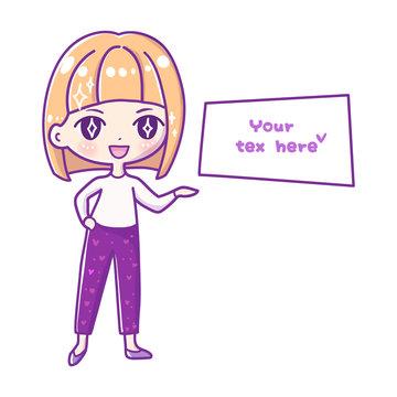 Cute vector illustration. Kawaii Anime girl. Big eyes.Use for postcards, print on clothes.