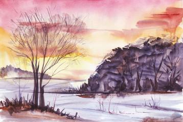Bright sunset Winter landscape Tree silhouette on pink-orange gradient background. Dark forest. Hand-drawn watercolor illustration