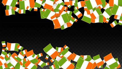 Vector Irish National Background. Saint Patrick Day Poster for Pub Party. 17 March Symbol Illustration.  Flag of Ireland. Eire Banner about Tourism. Eire Island. Celtic Flag. Tourist Dublin Post Card.