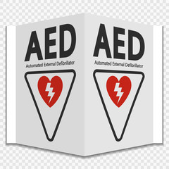 Symbol AED Sign label on transparent background