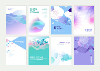 Wall Mural - Set of brochure, annual report and cover design templates for beauty, spa, wellness, natural products, cosmetics, fashion, healthcare. Vector illustrations for business presentation, and marketing.