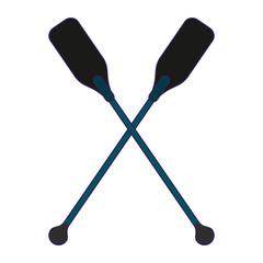 Boat oars crossed symbol blue lines