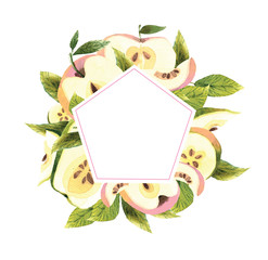 Watercolor apple frame. Ripe beautiful apples in a cut with green leaves