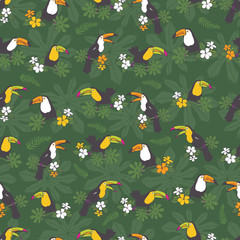 Vector dark green tropical birthday party seamless pattern background. With toucan birds.Perfect for fabric, scrapbooking, wallpaper projects.