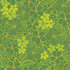 Vector green flowers tropical birthday party seamless pattern background. Perfect for fabric, scrapbooking, wallpaper projects.