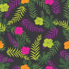 Vector black and colourful tropical plants seamless pattern background. Perfect for fabric, scrapbooking, wallpaper projects.
