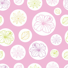 Vector pink and white tropical leaves and hibiscus flower seamless pattern background. Perfect for fabric, scrapbooking, wallpaper projects.
