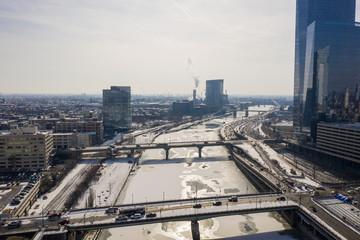 Schuylkill River Philadelphia PA aerial drone image