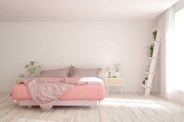 Coral stylish minimalist bedroom. Scandinavian interior design. 3D illustration
