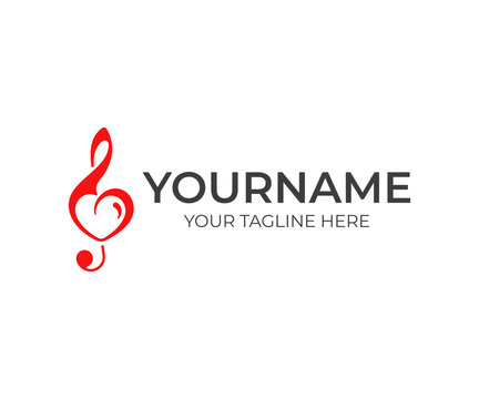 Treble clef with heart logo design. Love for music vector design. Music note and heart symbol logotype
