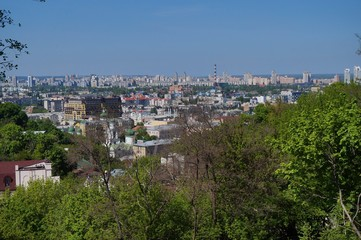 View from the observation deck in the Park of Eternal Glory. Kiev, Ukraine.