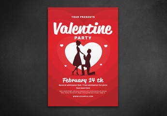 Valentine's Day Party Flyer with Proposing Couple