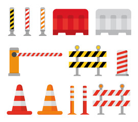 Road barrier and street barriers set. Vector