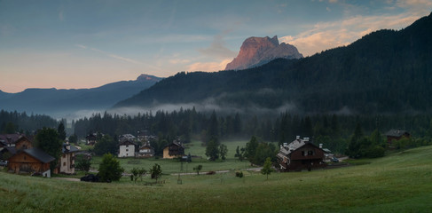 Beautiful morning over village San Vito Di Cadore in Italian Dolomites,