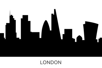 London skyline and landmarks silhouette. Great Britain, England flat icon. Cityscape black and white design isolated. Downtown vector illustration. United Kingdom famous buildings design.