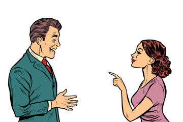 business woman talking to businessman