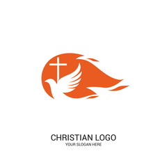 Christian church logo. Bible symbols. The dove and the flame are symbols of the Holy Spirit of God.