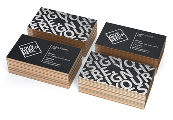 Four Stacks of Black Business Card Mockups on White