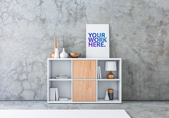 Vertical Canvas on a Modern Shelving Unit Mockup