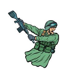 kick the gun butt. soldiers at war