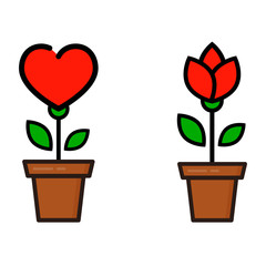 cartoon tulip and and flower rose in a pot set