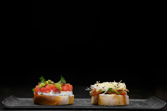 sandwiches on a black background.