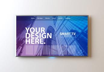 Smart TV on White Wall Mockup