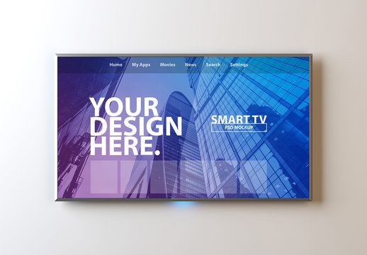 Smart TV on White Wall Mockup