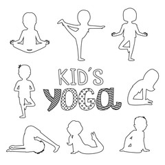 Vector outline kids yoga poses isolated on white background. Illustration of fitness yoga for exercise, girl pose