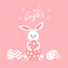 Happy Easter Rabbit with Eggs on Pink Background