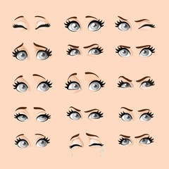 Beautiful cartoon female gray eyes with different emotional expressions on a flesh-colored background