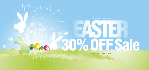 Easter Sale special offer 30 percent off limited time light stars colorful spring grass eggs rabbits colorful spring background