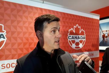 John Herdman head coach of Canada's men's soccer team speaks to reporters in Toronto