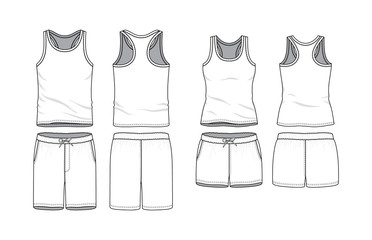 Blank male and female tank top and swimming shorts in front, back views. Clothing templates. Fashion set. Casual, sport style. Active wear. Vector illustration. Isolated on white. Fototapete