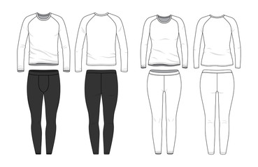 Blank male and female round neck raglan tee and jogging pants in front, back views. Clothing templates. Fashion set. Casual, sport style. Active wear. Vector illustration. Isolated on white.