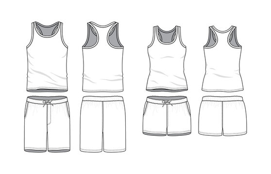 Blank male and female tank top and swimming shorts in front, back views. Clothing templates. Fashion set. Casual, sport style. Active wear. Vector illustration. Isolated on white.