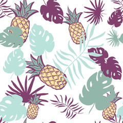 Seamless exotic pattern with pineapple palm leaves on white background. Tropical monstera leaves illustration. Fashion design. print fabric textile, wallpaper, wrapping paper. hand drawing.