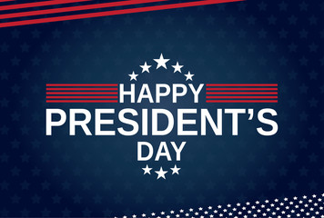 Happy Presidents Day blue poster, card or background. Vector illustration.