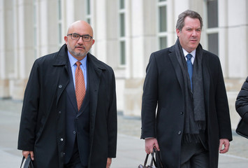 """Attorneys for Mexican drug lord """"El Chapo"""" exit the Brooklyn Federal Courthouse in New York"""