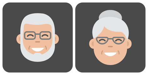 Face old people. Vector illustration