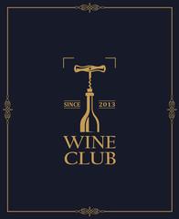 wine club emblem with bottle and corkscrew on dark background