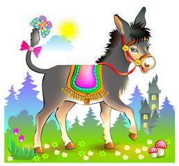 Fantasy illustration for kids with cute little donkey walking in spring meadow. Cover for baby book. Printable vector cartoon image.