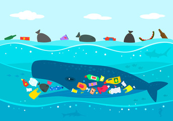 Ecological disaster of plastic garbage in the ocean. A large sperm whale eats plastic trash against a polluted sea.