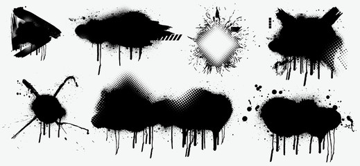 Fotobehang - Abstract black spray on white background, Black splashes isolated on white background. Spray effect, exploding, black drops. Graffiti stencil template. Grunge effect, Isolated vector collection.