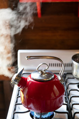 Red tea kettle steaming on stove