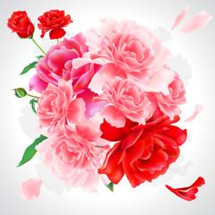 beautiful pink flowers, peonies i roses