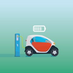Flat vector illustration of a red electric car charging at the charger station. Vector Electric car infographic with icons